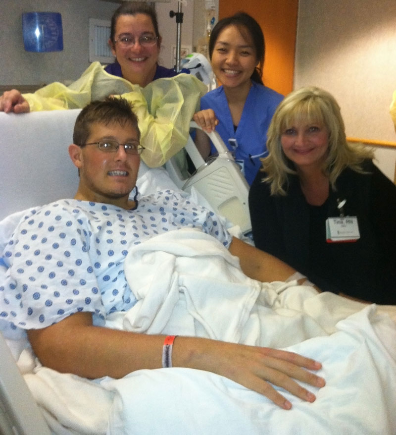 Gavin, Diane, Soyi, and Tina- some of his favorite Shock Trauma nurses